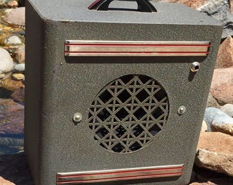 "Presenting the ""Metal Monster"" Guitar Amp, hand built by Pairadice Musician's Supply Co. from a repurposed 1950's intercom speaker"