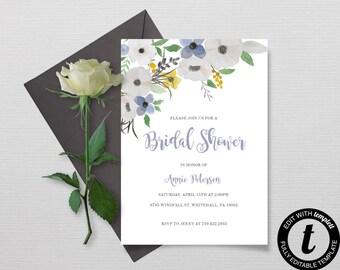 Bridal Shower Invitation - Bridal Shower Invite - Bridal Shower Printable - Floral Bridal Shower -  Chic Bridal Shower - DIY Bridal Shower