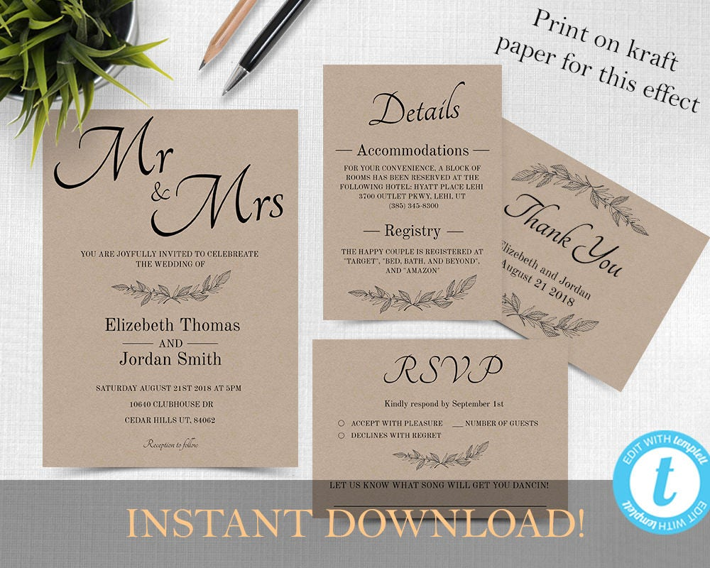 Wedding invitation template Wedding invitation printable