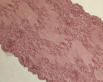 """8.25""""/21cm Floral Mauve Stretch Galloon Lace"""