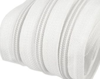 6m endless zipper white 5mm with 15 zippers and ends 101