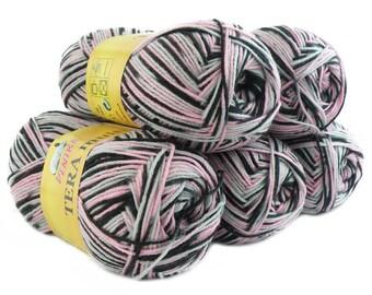 5 x 100 g yarn TERA MULTI, #800 pink black grey