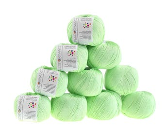 10 x 50 g knitting wool cotton breeze, #158 mint