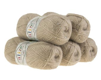5 x 100 g sequin yarn ANGORA GOLD STAR #541 light brown