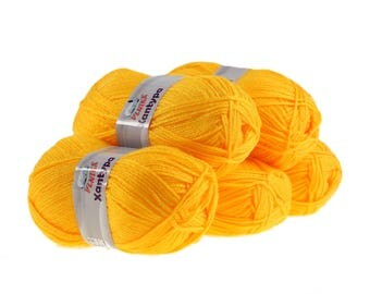 5 x 100 g Orla #470 Sun-yellow Cardigan, knitting wool, wool, hand Knitting yarn