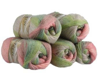 5 x 100g Strickgarn ALIZE ANGORA GOLD BATIK #4686 rosa-grün
