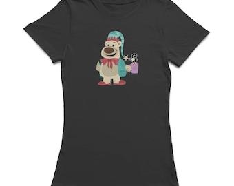 Christmas Polar Bear Thumb Up With Hot Chocolate  Women's Black T-shirt