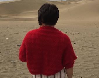 Crochet bolero Red bolero Stripped bolero Short sleeve bolero Red shrug