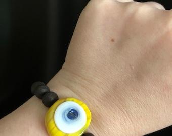 Yellow evil eye beaded bracelet