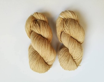 beautiful beige merinosilk blend yarn - handdyed with walnut