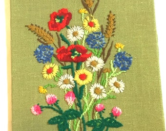 Vintage Floral Crewel Embroidery