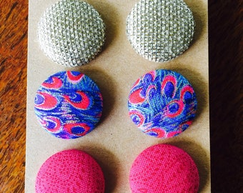Fabric button earrings - gift pack