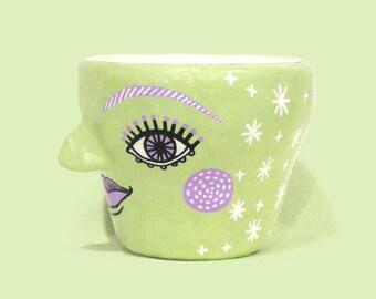 "Handmade Rainbow Character Pot   Green and Purple Psychic Chic   ""Blossom"""