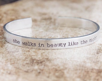 She Walks In Beauty Like The Night / Poetry Jewelry / Literary Jewelry / Poetry Gift / Romantic Jewelry / Romantic Gift / Quote Jewelry