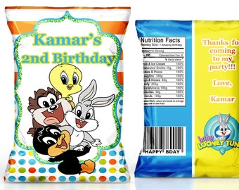 Baby Looney Tunes birthday favor----Looney Tunes baby shower favor----Looney Tunes chip bag-------DIGITAL FILE ONLY