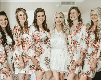 8-Floral Bridesmaid Robes-Bridesmaids Robes for your bridal party- Available Monogramming-Shown In White Floral