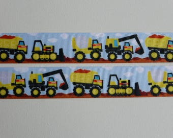 "Construction Trucks Grosgrain ribbon 25mm/1"" wide x 1 meter"