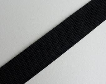 "Black Polypropylene Webbing 25mm (1"") wide x 1 meter"