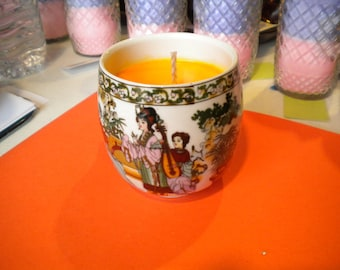 Tea Cup Soy Candle with Essential Oils Hand Crafted All Natural Scent: Orange Patchuloui in a Oriental Tea Cup