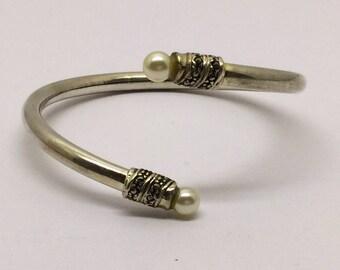 sterling silver pearl marcasite bracelet  #214