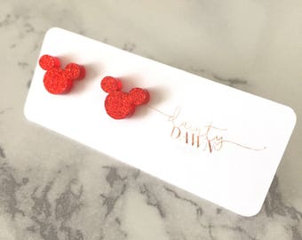 Disney Mickey Mouse : Sparkly Red Stud Earrings