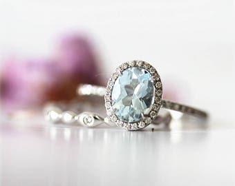 March Birthstone Aquamarine Engagement Ring set 6x8mm Oval Natural VS Light Blue Aquamarine ring Solid 14K White Gold Ring Diamond Ring Set