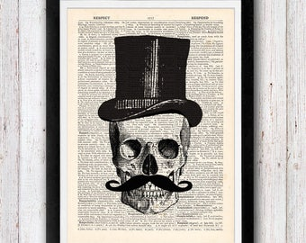 Human Skull with Top Hat print Medical decor Anatomy poster Old dictionary