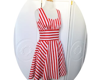 Red and white striped cotton sailor dress, dress has flared skirt, pin up dress, retro dress has stripes, red and white striped dress, red dress