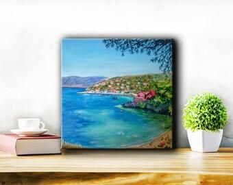 Gifts & mementos,Original Greek island painting,Kefalonia painting,Assos Kefalonia,Coastal art,Wedding gift,summer decoration