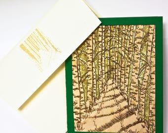 Birch Path - Laser Engraved Wood Veneer Card