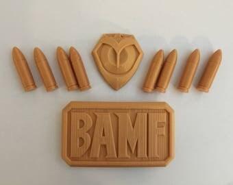 Overwatch Mccree Kit - 3D Printed Emblem, Buckle, 8 Bullets