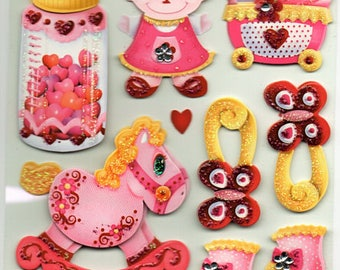 Baby Girl 3d Glitter Stickers Scrapbook Embellishments Cardmaking Crafts Forever In Time