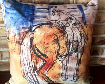 Rustic Modern Decor Abstract Linen Horse Cushion Cover