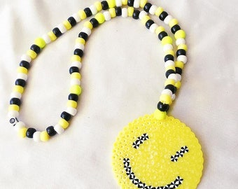 Trippy Smiley Perler Necklace