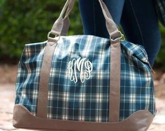 Monogrammed Middleton Plaid Weekender Bag