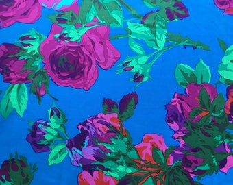 """Quilting Cotton Philip Jacobs English Rose  Vibrant turquoise and rose.  30"""" remant."""