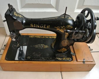 Singer 128K Hand-Crank Vintage Sewing machine F3819257(1913)