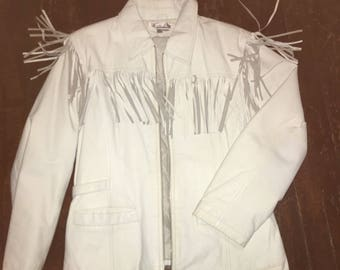 Vintage Collection By Vanna White Leather Jacket With Fringes