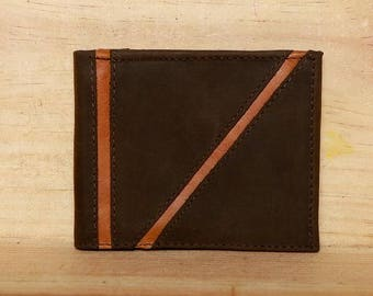 Wallet - Mens Wallet - Leather Wallet - Bifold wallet - Id Window - Free US Shipping - Gift for him - Brown leather - Brown leather wallet