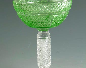 "Antique Edwardian URANIUM - Cut Wine Glass STEVENS & WILLIAMS - 4 3/4"" - #ACG18"