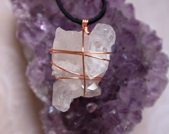 Wire Wrapped Clear Quartz Cluster