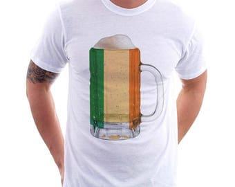 Ireland Country Flag Beer Mug Tee, Home Tee, Country Pride, Country Tee, Beer Tee, Beer T-Shirt, Beer Thinkers, Beer Lovers Tee, Fun Tee