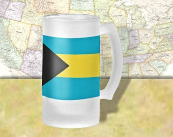 Bahama Flag Beer Mug, Beer Stein, Country Flag, Country Pride, Beer Glass, 16 oz., Frosted Mug, Beer Thinkers, Beer Lovers, Cold Beer