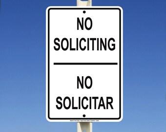 No Soliciting No Solicitar Aluminum Metal Sign