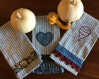 Blue Stripe Decorative Embroidered Kitchen Towel Set