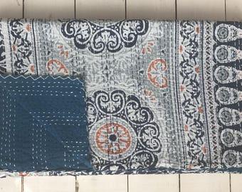 ALLEGRA - White Tile Printed Kingsize Kantha Handstitched Blanket