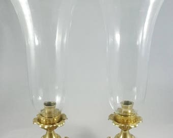 Brass Hurricane Candle Holders