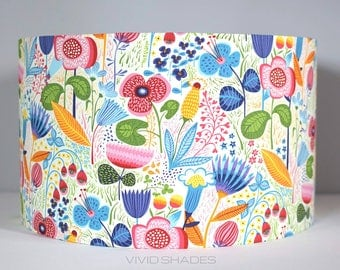 Floral lampshade 30cm fabric light / lamp shade handmade by vivid shades, stunning colourful flower pattern drum shade ceiling vintage funky