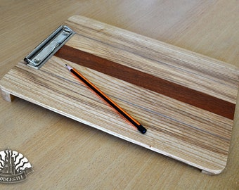 Wooden, angled clip board