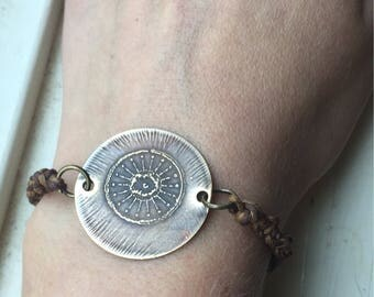 etched brass circle bracelet